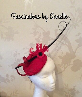 Red and black fascinator, Ascot, races, weddings