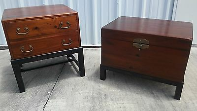 Vintage Chinoiserie Fitted Campaign Side Table and Matching Trunk / Chest