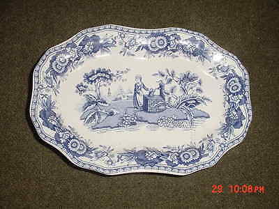 THE SPODE BLUE ROOM COLECTION  GIRL AT THE WELL  GEORGIAN SERIES DISH 6 inches