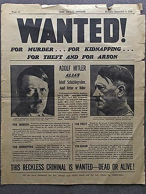 Original Newspaper Wanted Poster from Hitler Page from 4sept1939 DailyMirrorWWII