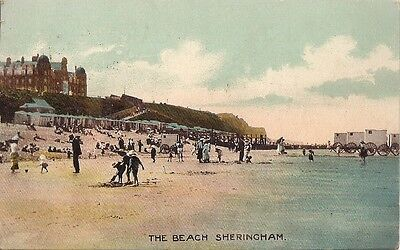 Lovely Scarce Old Postcard - The Beach - Sheringham - Norfolk 1919