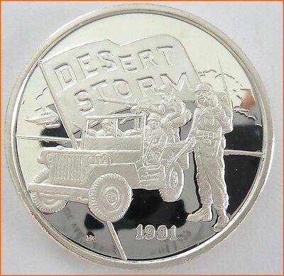 "1 oz .999 Silver ""DESERT STORM 1991"" New Queensland Mint  Art Round/Bar 6054"
