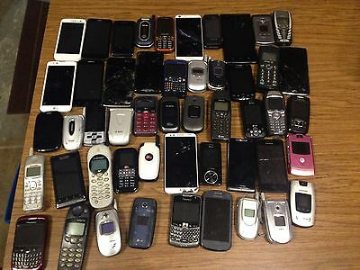Lot of 50 Broken Cell Phones/Smartphones for Parts/Repair or Gold/Metal Recovery