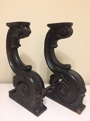 ANTIQUE Pair PIANO WOOD ARCHITECTURAL SALVAGE COLUMN POST SHELF CORBELS