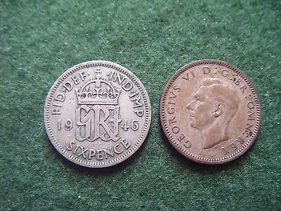1946 George VI Sixpence Coin
