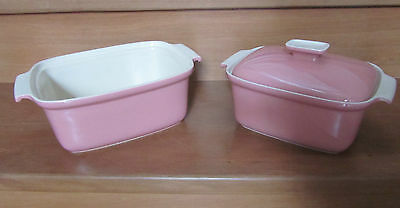 SERVEX Vintage Casserole Dishes x2 Oven Table China Bakeware Pink Rare