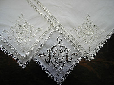 set of 3 Antique Needle Lace Point de Venice Embroidered Napkins  Italy, 12.5""