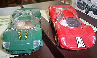 Scalextric vintage Cars Red Ferrari P4 C.16 & Green Mirage Ford C.15 - nice cars