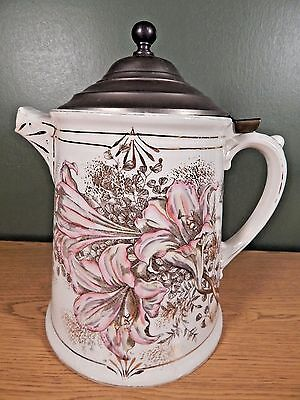 Huge Antique Tankard Pitcher With Hinged Pewter Lid