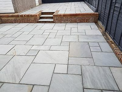 Kandla Grey Indian Sandstone Paving Slabs 19m2 Mix Size Garden Slabs Patio Slabs