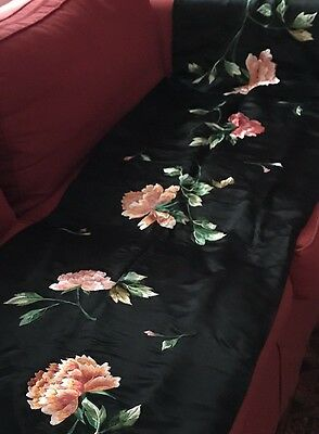 Gorgeous Vintage Art Deco Embroidered Silk Satin Shawl Stole 1920s Boho Art Deco