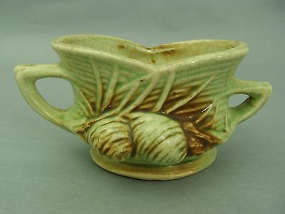 VINTAGE McCOY SIGNED POTTERY ACORN & LEAVES GREEN & BROWN SMALL SUGAR BOWL