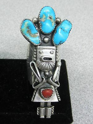 Vtg Sterling Silver Turquoise & Coral Native American Signed Old Pawn Kachina