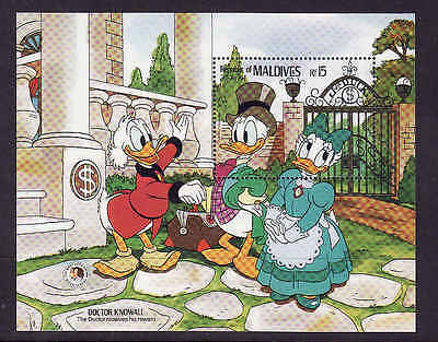 D1-Disney-Maldives-Sc#1148-unused NH sheet-Doctor Knowall-Brothers Grimm-1985-