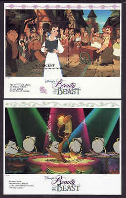 D1-Disney-St Vincent-Sc#1775-6-two unused NH sheets-Beauty & the Beast-1992-