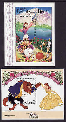 D1-Disney-St Vincent-Sc#1776B,C-two unused NH sheets-Beauty & the Beast-1992-