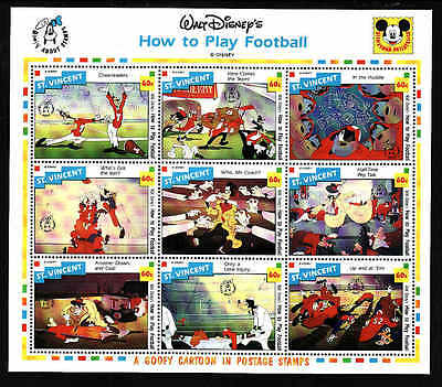 D1-Disney-St Vincent-Sc#1792J-unused NH sheet-Sports-Goofy-How to Play Football-