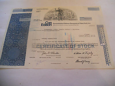 Old Stock Certificates 100 Shares Con Edison Company Of New York Inc. 1976 Green