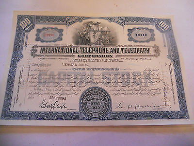 Old Stock Certificates 100 Shares International Telephone And Telegraph Blue