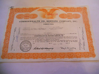 Old Stock Certificates 200 Shares Commonwealth Oil Refining Company Inc Orange