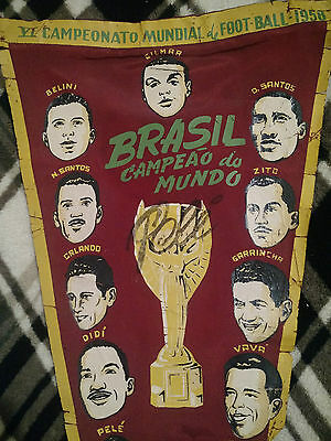 Pennant Brazil World Cup 1958 Pele Football signed by Pelé