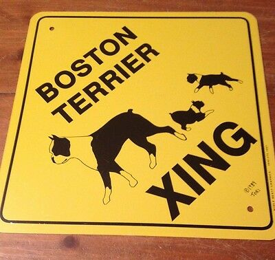 Older Dog Crossing Sign - Boston Terrier and Puppies