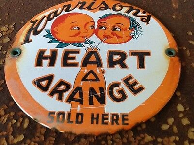 Vintage Harrison's Orange Soda Drink Porcelain Steel Sign Gas Station Oil