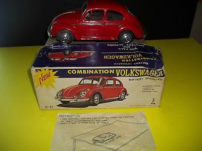 Vintage 1965 Taiyo Tin Battery Operated Combination Volkswagen Made in Japan