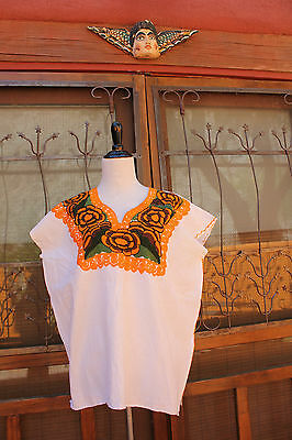 Mexican Women's Peasant Blouse Boho Huipil w Floral  Embroidery M/L