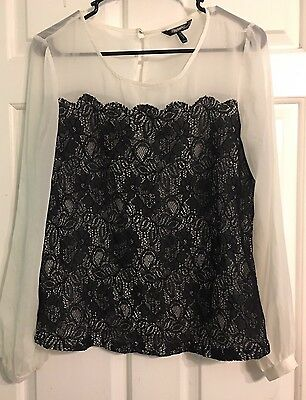 Daisy Fuentes Women's Size Small White & Black Lace Long Sleeve Blouse