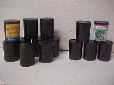 15 Empty BLACK Plastic Film Canisters Cans Geocache stash Tubes Containers