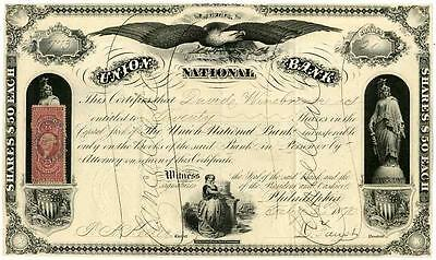 1870 Union National Bank Stock Certificate