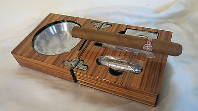 Desk/Travellers Smart Cigar Box/Ashtray + Cutter + Punch Stainless Steel