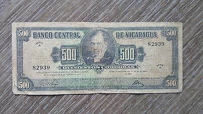 Nicaragua 500 Cordobas 1962 - Only 90,000 printed! - Rare Note