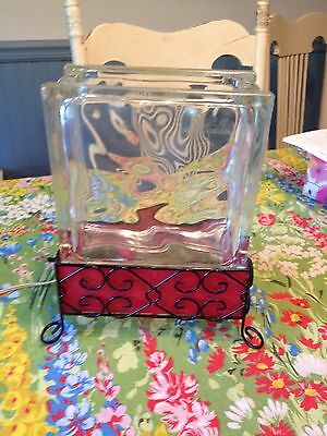 Vintage Glass Block Metal Frame Fish Tank with Night Light