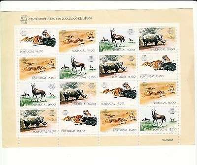Portugal 1984, Zoo Complete sheet of 4 strips, Tiger other wild animals
