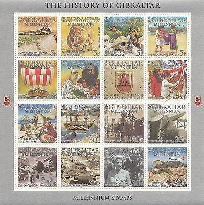 stamps Gibraltar complete sheet of 16, Monkey, Caber tooth tiger