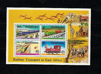 Tanzania, s/s of 4 stamps,  Railroad transport, Trains