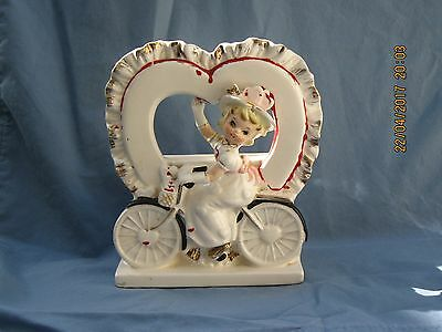 Ceramic Valentine     Relpo  1514    Girl On Bike   6 1/2  X  5