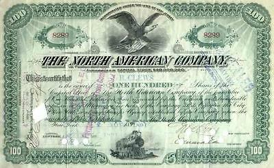 1891 North American Co Stock Certificate (original DOW stock)