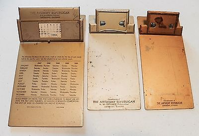 3 Small Clipboards Advertising Anthony Republican KS Kansas Newspaper