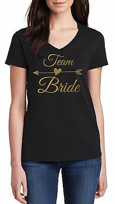 9a84d5a61 V-neck Gold Bride's Team Shirt Bachelorette Party T-Shirt Wedding Marriage  Tee