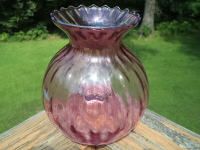 Cranberry Ribbed Glass Vase with Kick Indented Bottom