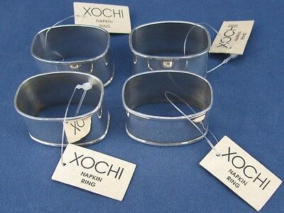 Set of 4 Xochi Silverplate Napkin Rings - With Tags