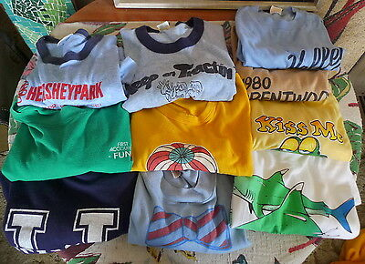 70's 80's Lot Of 10 Vintage Printed T Shirts HANES Collegiate Pacific ROACH Gulf