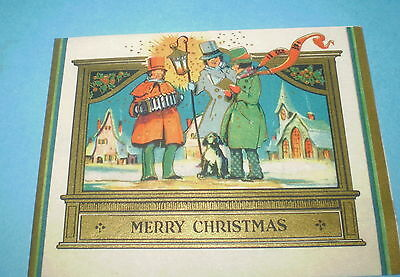 vtg Christmas Greeting CARD Art Deco Carolers Gold Parchment