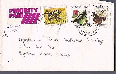1985 RAAF PO LAVERTON VIC priority paid commercial cover Postmark butterfly frog