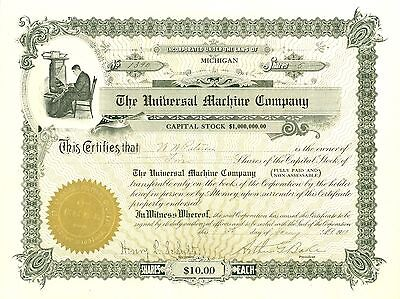 1913  Stock Certificate - The Universal Machine Company