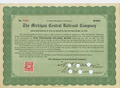 1915 Interim Bond Certificate (Green) - The Michigan Central Railroad Company