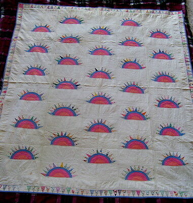 Antique Quilt Applique Spring Hand Stitch Sunrise Sunset Unusual Beauty Awesome!
